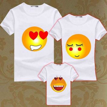 PEAPGB2 Family Matching Outfits Valentine Love Emoji Emoticon Short Sleeve T Shirts Kids Casual Beach Tee Father Mother Boy Girl Clothes