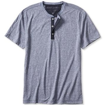 Banana Republic Mens Vintage Woven Trim Henley