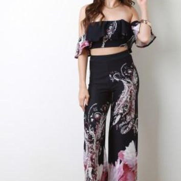 Paisley Vine Flutter Bardot With Palazzo Pants Set