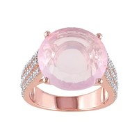 Rose Quartz & White Topaz Pink Rhodium-Plated Sterling Silver Ring