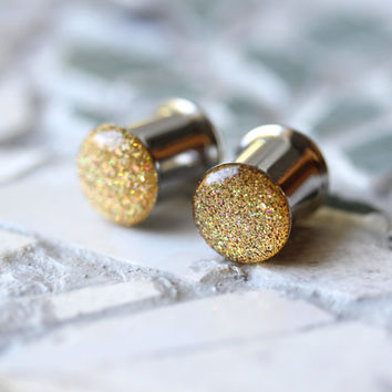 """Gold Glitter Ear Plugs, Sparkly Gold Ear Gauges, Resin Gauges, Plugs for Women - sizes 0g, 00g, 7/16, 1/2, 9/16, 5/8, 3/4, 7/8, 1"""""""