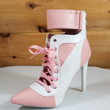 "Pink & White Pointy Toe Lace Up Sporty - 4.25"" High Heel Ankle Boots"