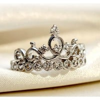 925 Sterling Silver Crown With Crystal Women's Ring - USD $40.95 : EverMarker.com