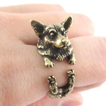 3D Realistic Welsh Corgi Puppy Dog Shaped Animal Wrap Ring in Brass | US Sizes 6 to 9