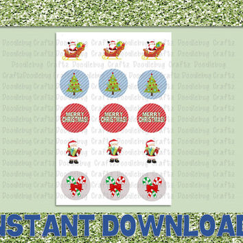 "Merry Christmas Holiday - Printable Bottlecap Images - Instant Download 1"" circles - 15 images - Santa Claus, Tree"