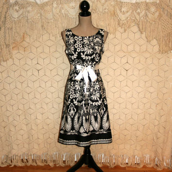 Black & White Print Dress Sleeveless Dress Summer Dress Batik India Casual Dress Cotton Dress Full Skirt Dress Small Medium Womens Clothing