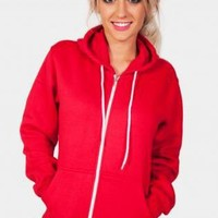Red Long Sleeve Zip Up Hoodie