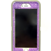 iPhone 6 Plus OtterBox Defender Series Case Glitter Cute Sparkly Bling Defender Series Custom Case  grey /sugar plum