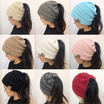New women hat CC Trendy Warm Oversized Chunky Soft Oversized Cable Knit Slouchy Beanie [2974244213]