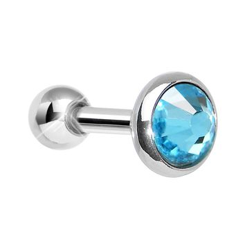 5mm Aqua Gem Tragus Cartilage Barbell Earring