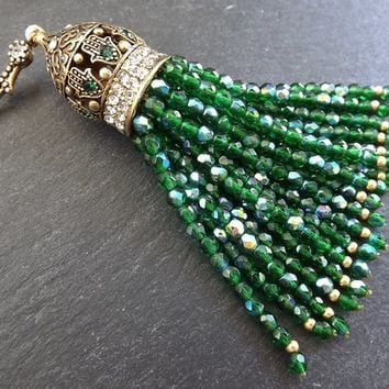 Emerald Green Beaded Tassel with Facet Cut Czech Glass Fire Polished AB Iridescent Beads Antique Bronze Rhinestone Accents - 1PC