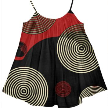 Red Black Gold Retro Pattern Girl's Tent Dress