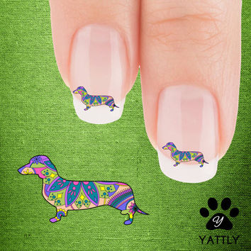 Trippy Dachshund Nail Art Decals( NOW 50% MORE FREE)