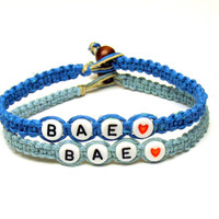 BAE Bracelet Set for Couples or Best Friends, Before Anyone Else, Light and Bright Blue Hemp Jewelry