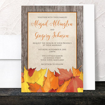 Fall Wedding Invitations - Rustic Leaves and Wood Autumn - Rustic Fall Orange Brown Beige Country - Printed Invitations