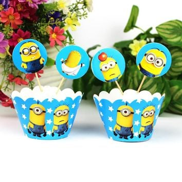 24pcs Minions Cartoon Cupcake Wrappers Toppers Baby Shower Kids Birthday Party Decoration Event Festive Party Supplies Favor