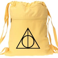 Harry Potter Deathly Hallows Backpack - Yellow Canvas Drawstring Book Bag
