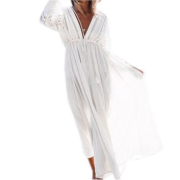 Cover ups Bikini 2017 White Rayon Beach Long Dress Swimwear Tunics Kaftan Beach Dress Beachwear  Robe de Plage Saida de Praia #Q274 KO_13_1