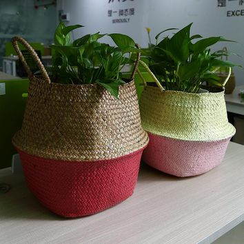 WHISM Foldable Seagrass Rattan Belly Storage Basket Home Room Plants Decoration Plant Toys Laundry Storage Holder Container