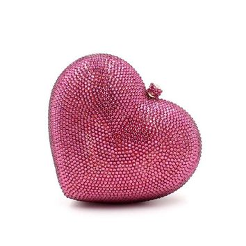 Deluxe Crystal Clutch bags Heart Clutch Evening Bag Formal Luxury crystal chain handbag Woman Wedding bags purse
