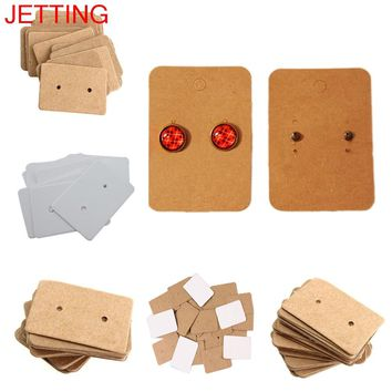 JETTING 100Pcs Kraft Paper Ear Stud Hang Tag Jewelry Display Card Earring Kraft Paper Tag Ear Ring Paper Hang Price Tag