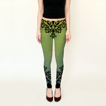 Wearable Art, exclusive design woman leggings, shaping flattering Abstract Lace print fishnet design yoga pants Green neon black