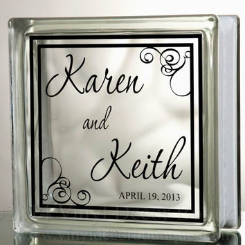 Wedding Anniversary Name and Date Glass Blocks Tiles Mirrors  Wedding Anniversary Personalized Custom DIY Glass Block Vinyl Decal