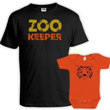 Matching Father Son Shirts Daddy And Me Clothing Father Daughter Matching Shirts Matching Family Outfits Zookeeper Tiger Bodysuit MAT732-735