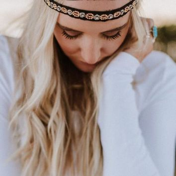 Jeweled Gypsy Headband - Black