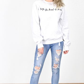 Arkansas Friends Fleece Lined Sweatshirt {Ash}
