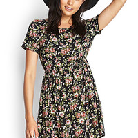 FOREVER 21 Sweetest Rose Dress Black/Multi