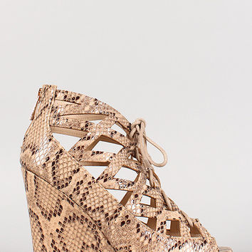 Bamboo Snake Cut Out Lace Up Open Toe Wedge