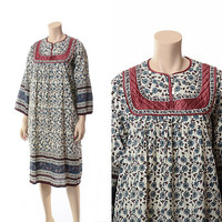 Vintage 70s 80s India Cotton Gauze Dress 1970s 1980s Quilted Bib Ethnic Floral Indian Boho Hippie Gypsy Festival Dress