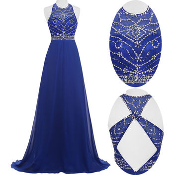 Sleeveless Hollowed Back Country Prom Dresses 2016 Sequin Beaded Hot Long Ombre Dresses Galajurken Grace Karin Prom Gowns GK24