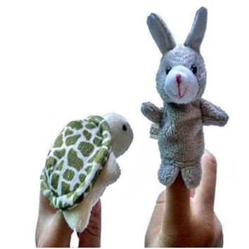 2Pcs Soft Finger Puppet Small Cute Turtle Rabbit Animal Pattern Finger Puppet Good Toys Hand Puppet for Baby's Gift Puppet