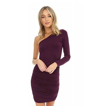 Bobi Shirred Asymmetrical Dress
