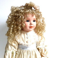 Vintage Doll // Collectible Baby Doll // Porcelain Doll // Blonde Curly Hair // Blue Eyes // The Connoisseur // Seymour Mann // 1992