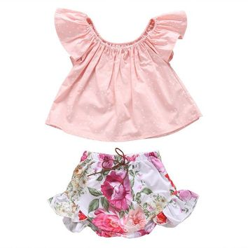 2 Piece Polka Dot Top + Floral Shorts Set