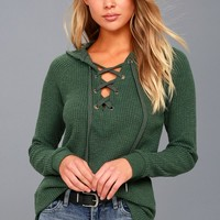 Harvest Washed Green Hooded Lace-Up Thermal Top