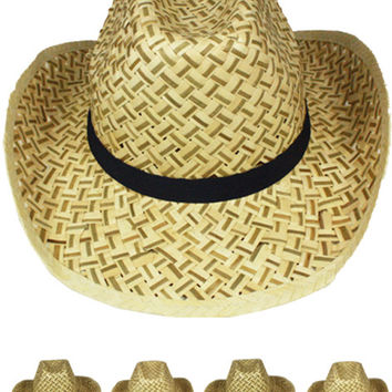 daf03fca50b straw cowboy hat with black band Case of 72
