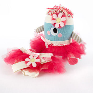 "Baby Aspen ""Clara the Closet Monster"" Baby Bloomers, Headband and Monster Plush Toy Gift Set"
