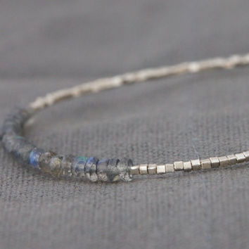 Labradorite beaded bracelet with Karen Hill tribe silver