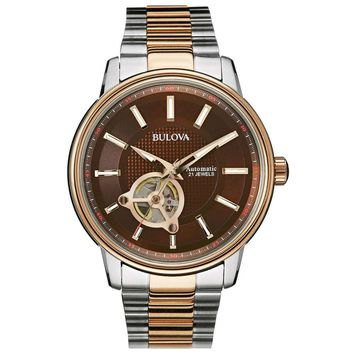 Bulova 98A140 Men�s Dress Self-Winding Brown Dial Two Tone Steel Automatic Watch
