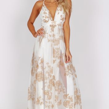 Yours Tulley Print Gown White / Nude