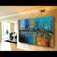 """Luxury Style Abstract Wall Art, 72"""" Jackson Pollock Look Blue Painting on Canvas, Original Oil Painting Teal Wall Decor by Nandita Albright"""