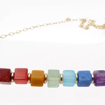 Minimalist Chakra Necklace Balancing, Alignment, Healing Crystals Power Stone Necklaces