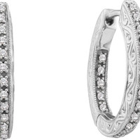 Round Diamond Ladies Fashion Hoops Earrings in 14k White Gold 0.25 ctw