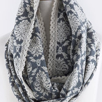 Blue French Patterned Infinity Scarf