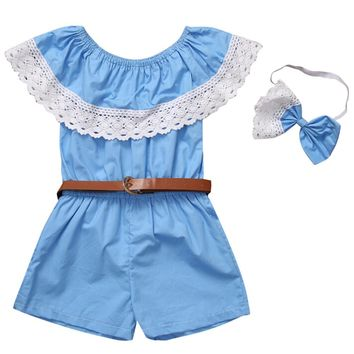 Girl clothing Sets Baby Girl Off Shoulder Lace Overalls Jumpsuit Romper with Bow Headband Belt 3PCS Girls Set ropa de nina