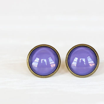 Royal Purple Glass Earrings